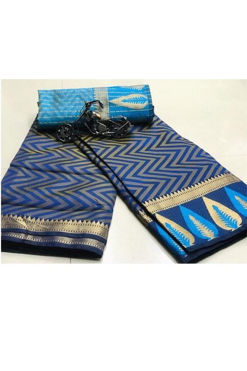 Blue Soft Cotton saree with weaving border n weaving blouse dvz0001132-2 Diwali 2020