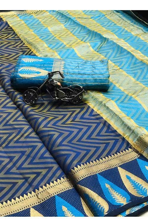 Blue Soft Cotton saree with weaving border n weaving blouse dvz0001132