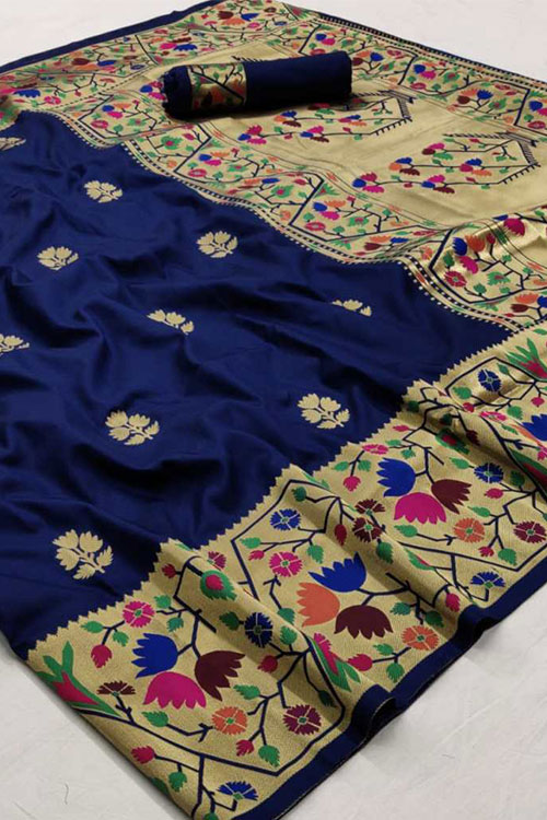 Blue Soft Paithini Silk saree dvz0001183
