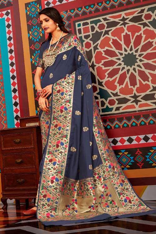 Blue Soft Paithini Silk saree - paithani silk saree blouse design dvz0001183