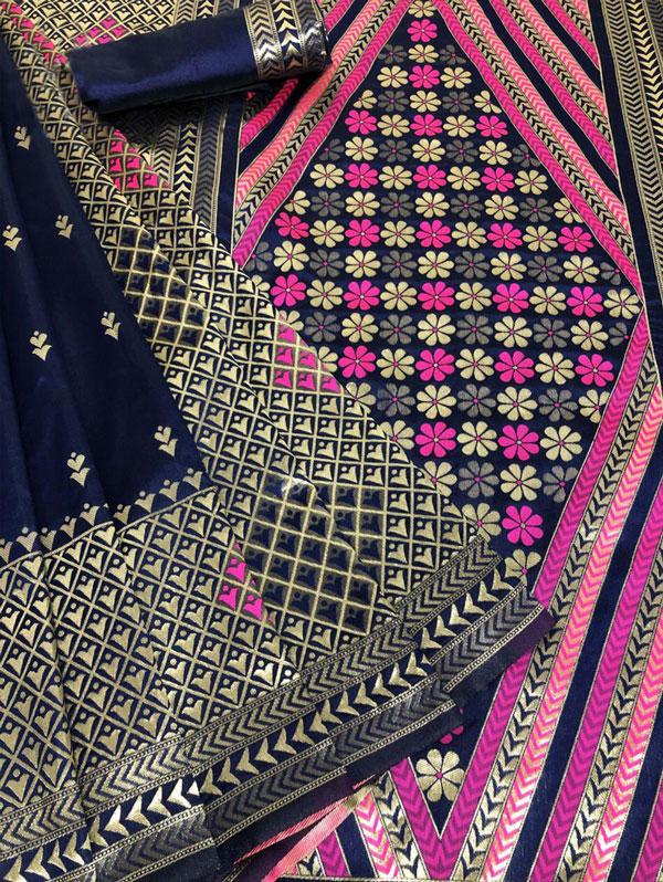 Blue Soft Silk Saree online Shopping - indian sarees online - dvz0001333