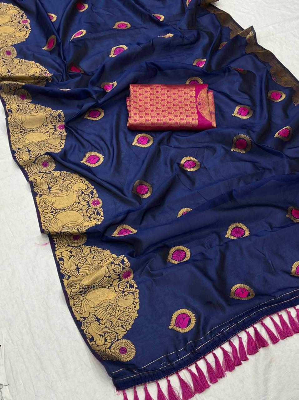 Blue Soft banarsari Silk Saree With weaving gold zari dvz0001974