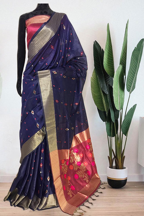 Blue Soft handloom cotton weaving saree with blouse piece dvz0001016