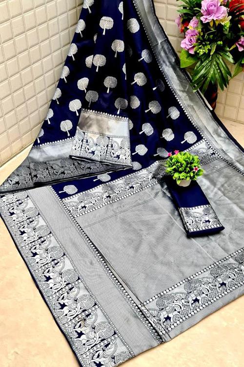 Blue Soft silk woven saree online dvz0001310 - silk woven sarees online