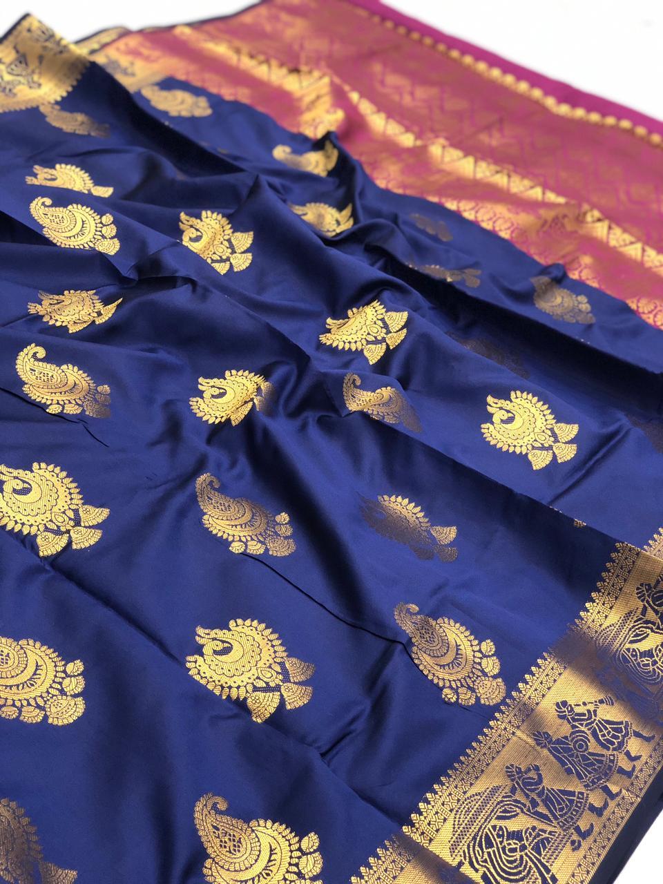 Blue banarasi silk with beautiful zari work saree dvz0001744