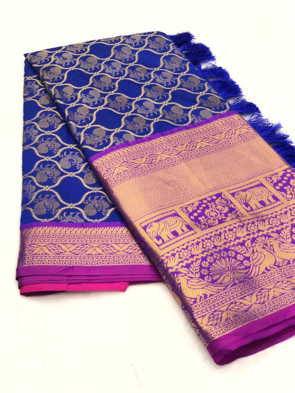 Blue kanjeevaram silk sarees online shopping dvz0001987