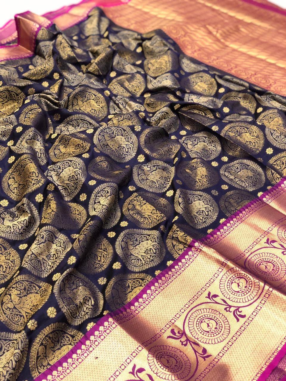 Blue kanjeevaram silk sarees online shopping dvz0002105