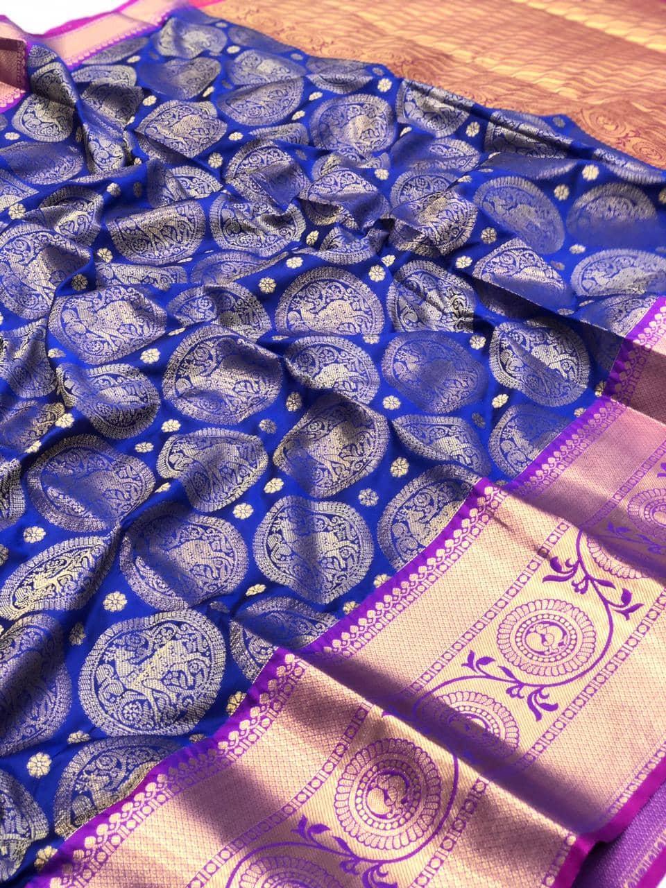 Blue kanjeevaram silk sarees online shopping dvz0002106