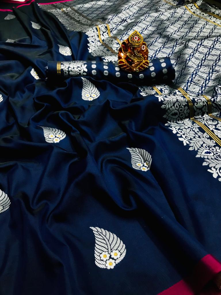 Blue lichi silk saree with weaving zari with jalar dvz0001666
