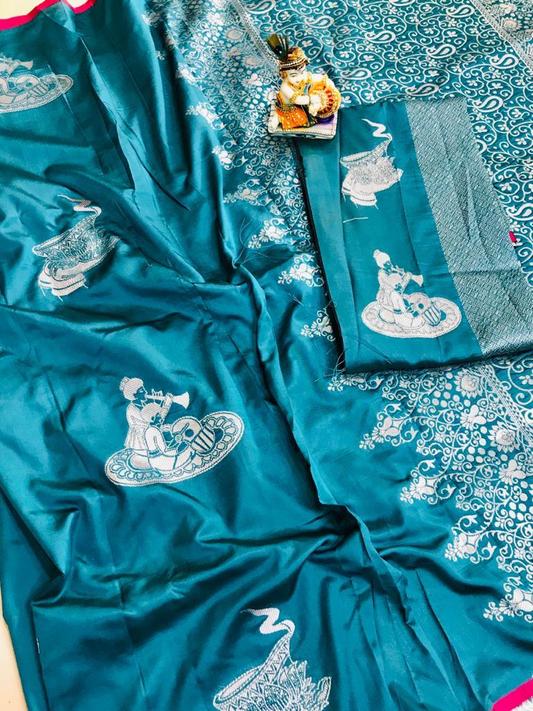 Blue lichi silk with full body weaving jari & new extra ordinary design dvz0001708