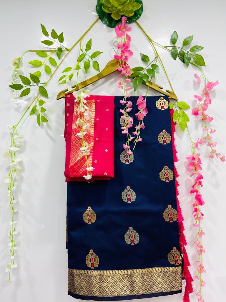Blue silk cotton sarees online shopping dvz0002074