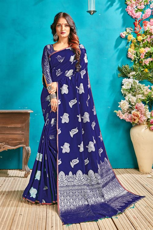 Blue silk woven saree - silk sarees online - dvanza.com