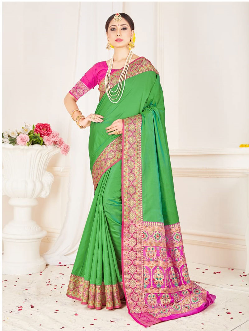 Branded Soft silk weaving saree (Green) dvz0001305 - indian silk sarees