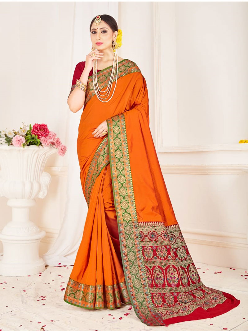 Branded Soft silk weaving saree (Mustard) dvz0001306 - indian silk sarees