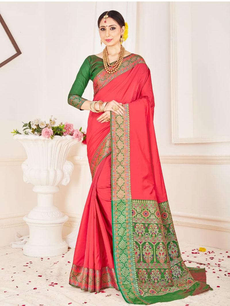 Branded Soft silk weaving saree (Peach) dvz0001307 - indian silk sarees