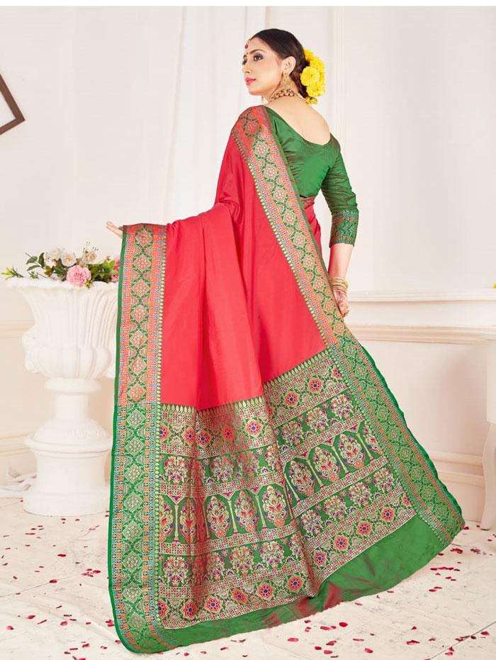 Branded Soft silk weaving saree (Peach) dvz0001307
