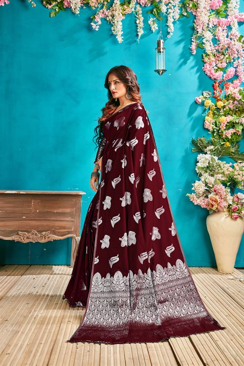 Brown silk woven saree - silk sarees online - silver zari banarasi silk - shop now