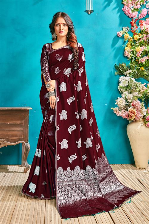 Brown silk woven saree - silk sarees online - silver zari banarasi silk