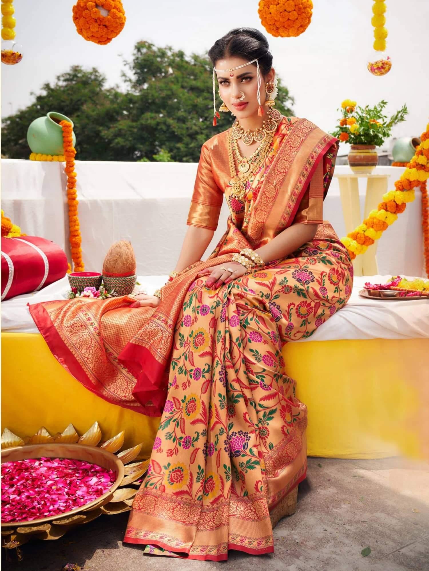 Buy Bridal Saree or wedding saree online in India dvz0002471