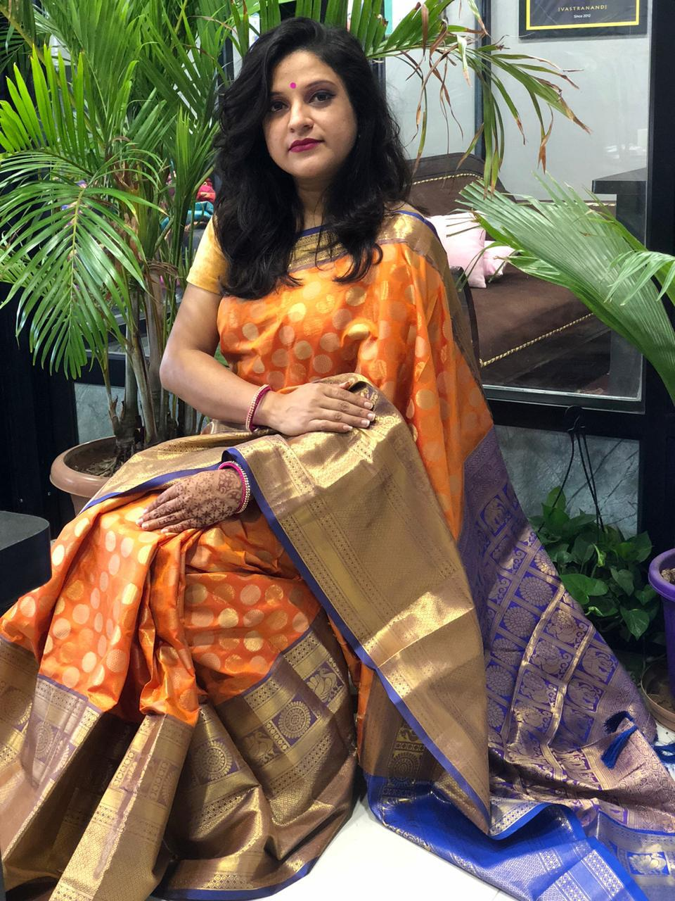Buy Designer Kanchipuram Silk Saree (Orange) dvz0001606