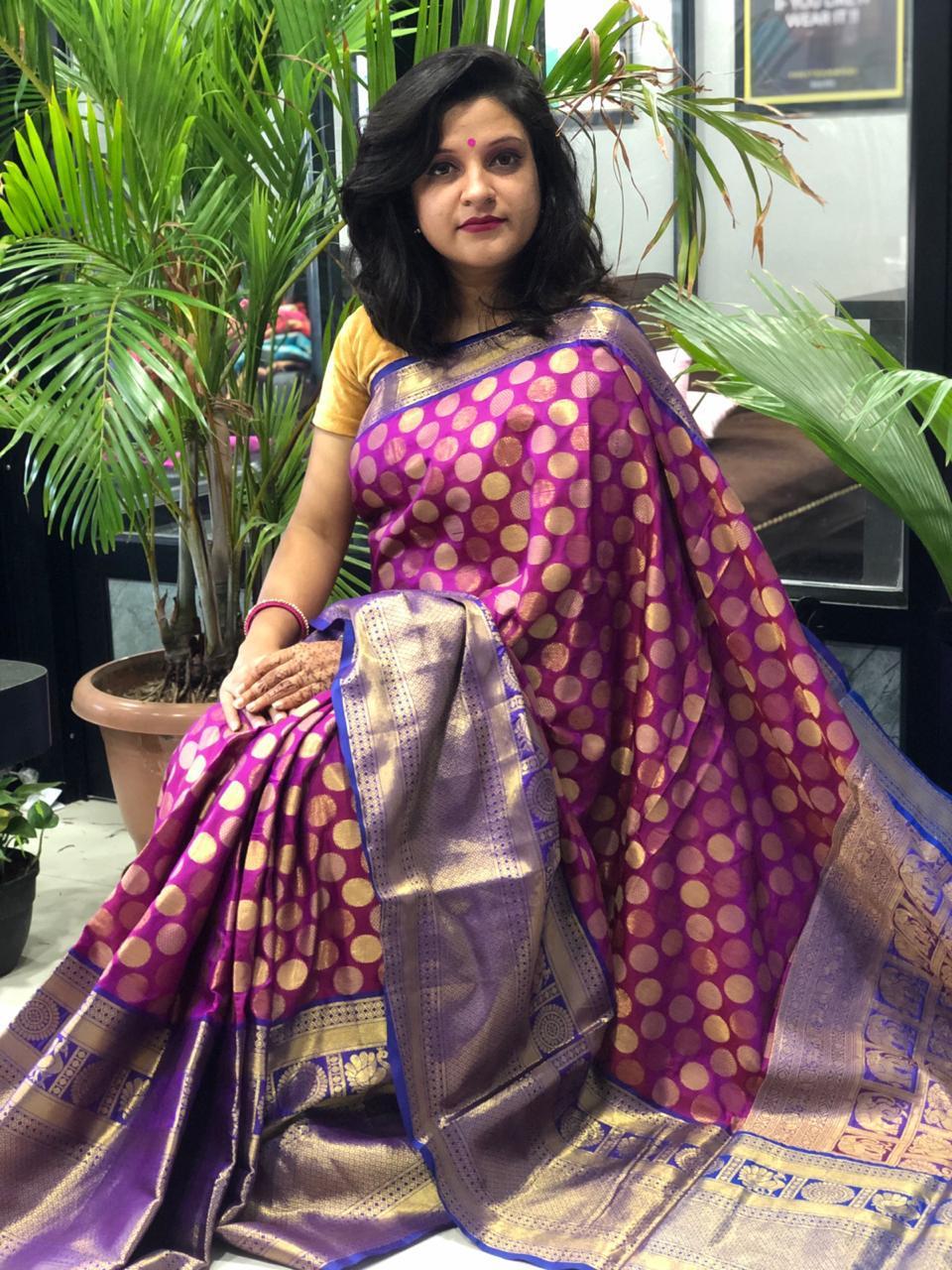 Buy Designer Kanchipuram Silk Saree (Purple) dvz0001607