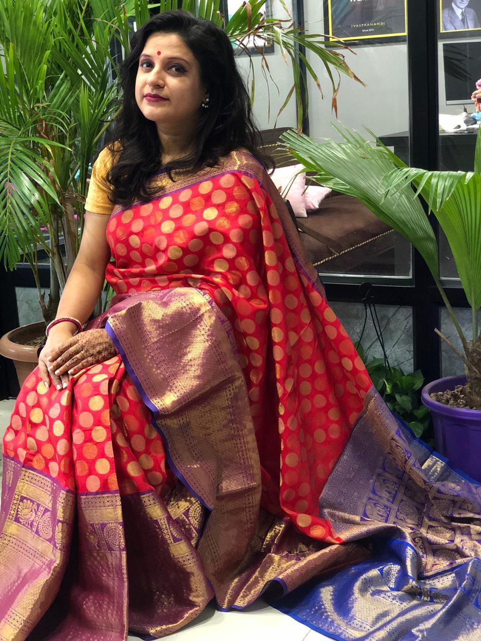 Buy Designer Kanchipuram Silk Saree (Red) dvz0001608