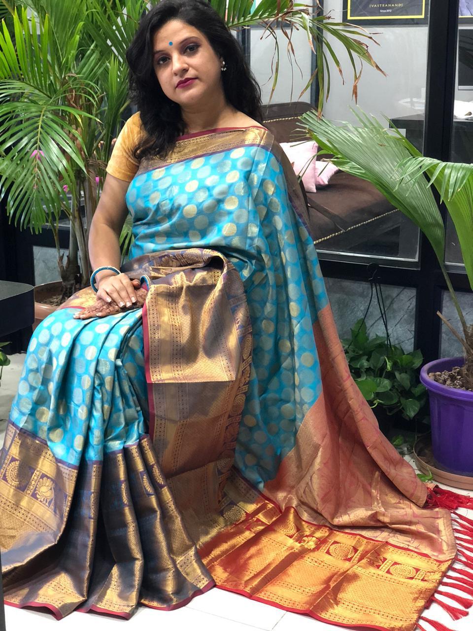 Buy Designer Kanchipuram Silk Saree (sky Blue) dvz0001602