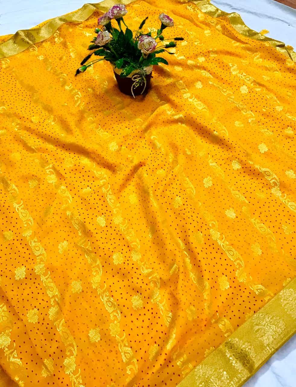 Charming Yellow Colored marbal chiffon printed saree dvz0002522