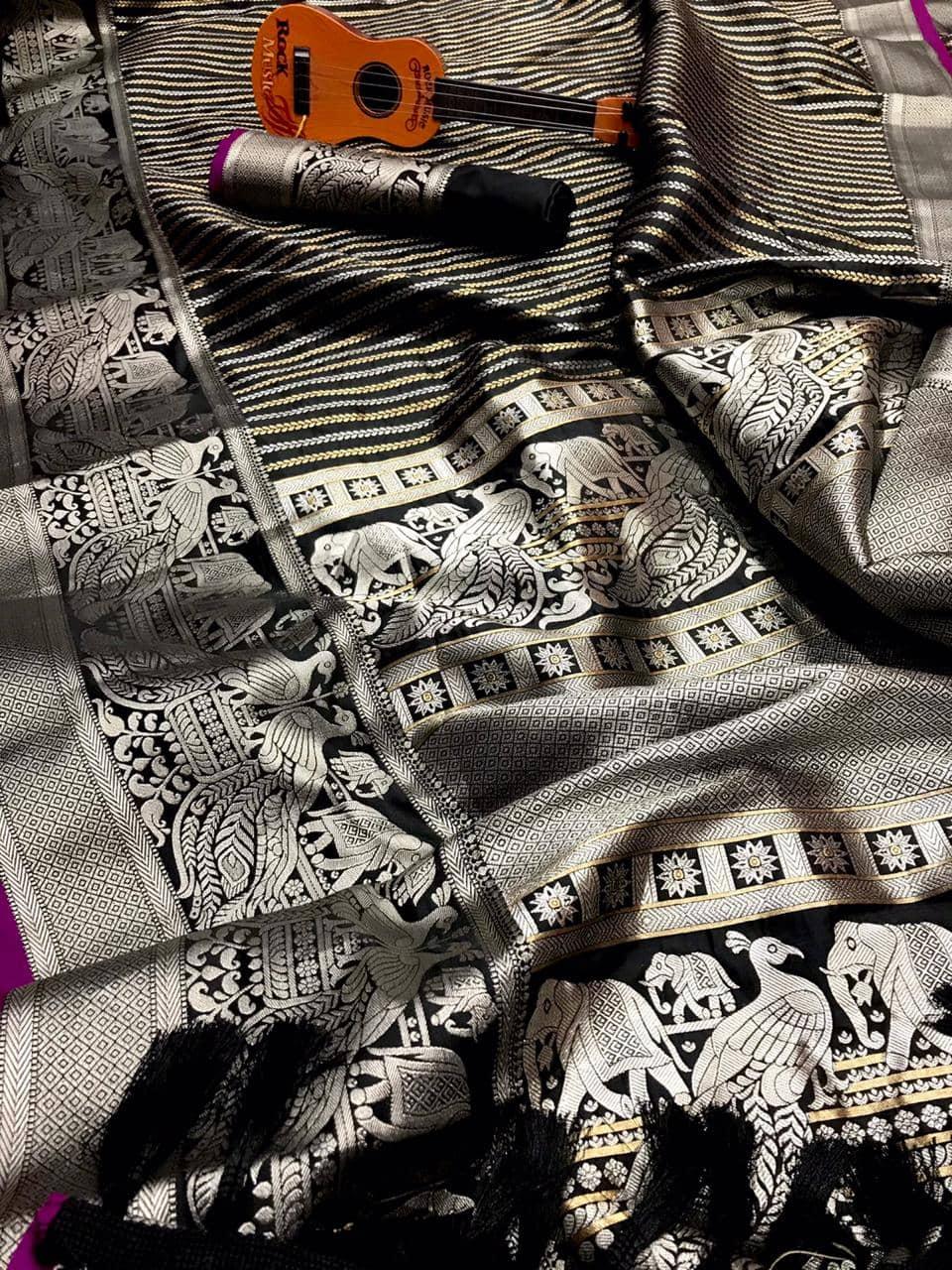 Classy Black prime Kanjivaram silk saree dvz0002006