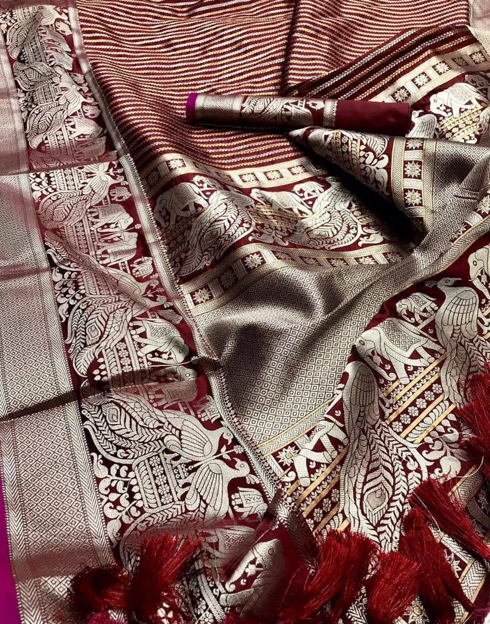 Classy maroon prime Kanjivaram silk saree dvz0002012