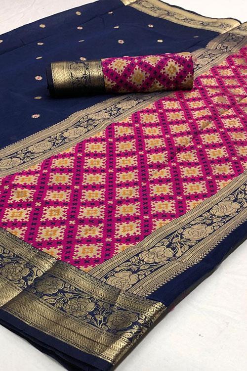 Cotton Weaving silk Blue saree dvz0001193