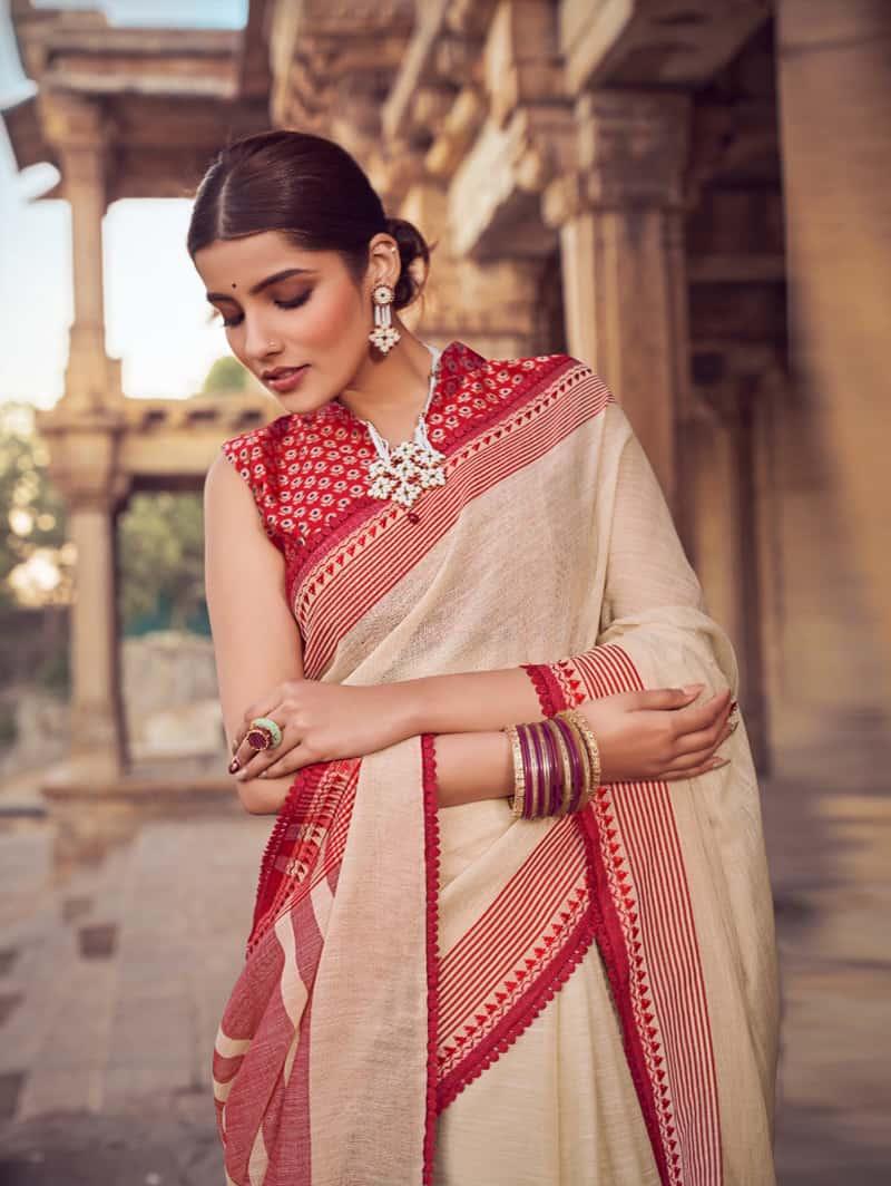 Cream Branded Soft Linen silk Traditional saree dvz0001789-3