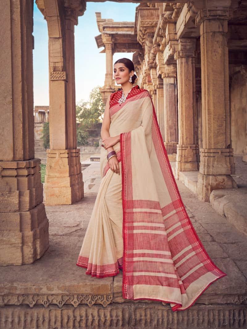 Cream Branded Soft Linen silk Traditional saree dvz0001789