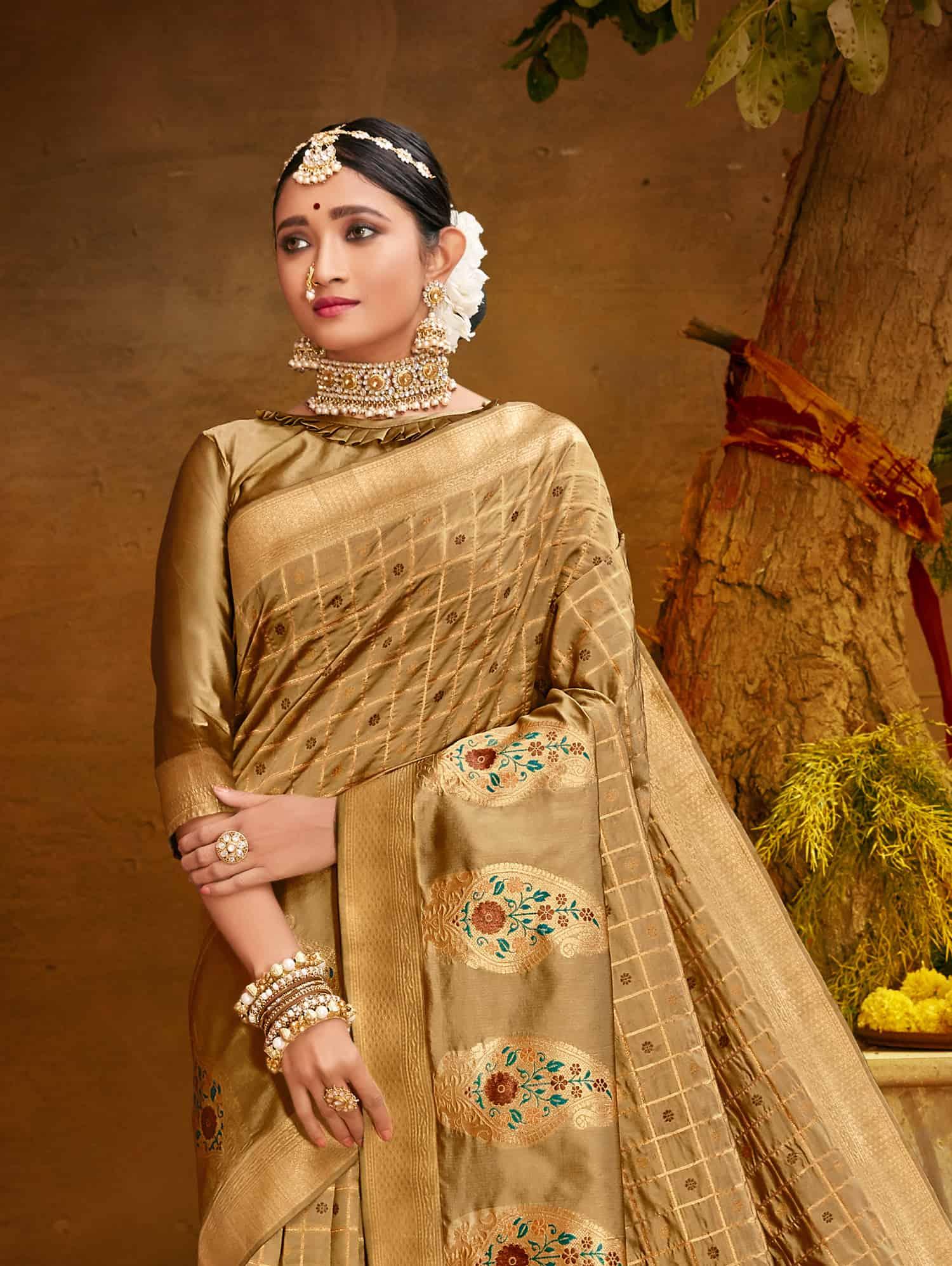 Cream Fancy soft silk Traditional saree dvz0002511-2