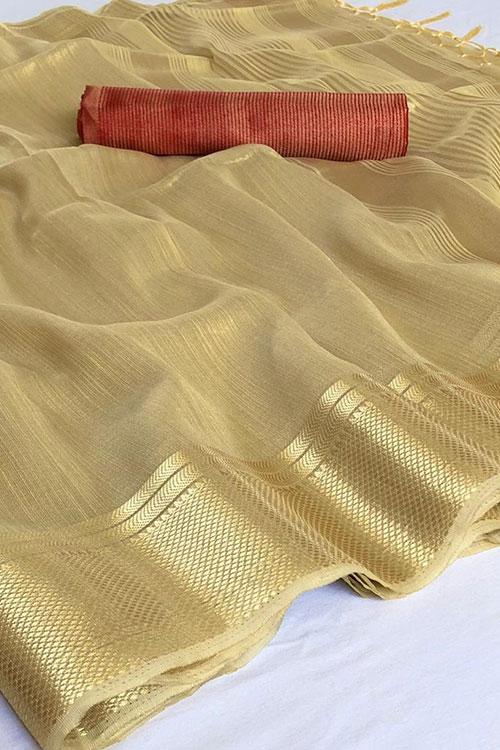 Cream Soft Tissue Zari With Doube Blouse Online dvz0001126