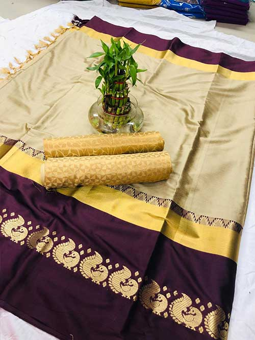 Cream-colored-cotton-silk-saree-dvz00022