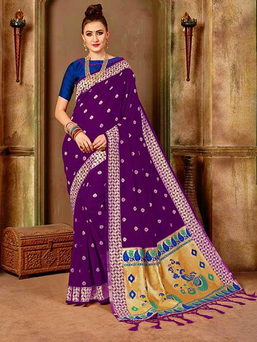 Dark Purple Banarasi silk woven saree with blouse piece - Banarasi silk saree