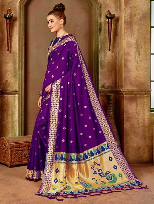 Dark Purple Banarasi silk woven saree