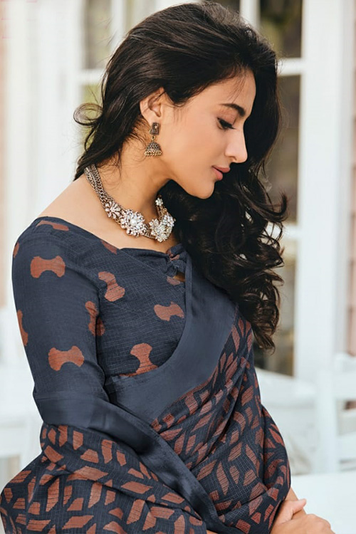 Dvanza women's Brasso silk Printed saree Online (Grey, Printed, dvz0001089)