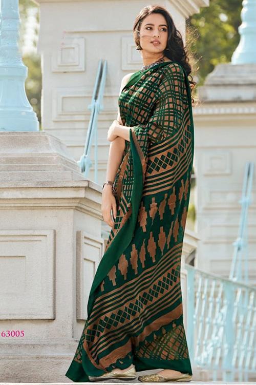 Dvanza women's Brasso silk saree (Green, Printed, dvz0001091)
