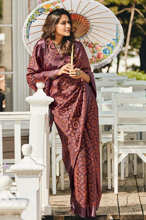 Dvanza women's Brasso silk saree (Maroon, Printed, dvz0001097)