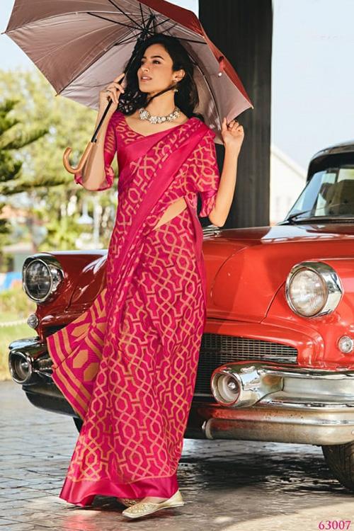Dvanza women's Brasso silk saree (Pink, Printed, dvz0001092)
