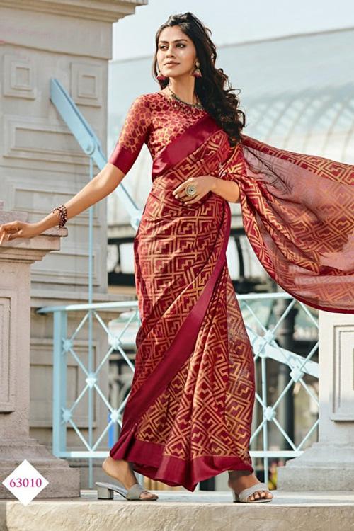 Dvanza women's Brasso silk saree (Red, Printed, dvz0001093)