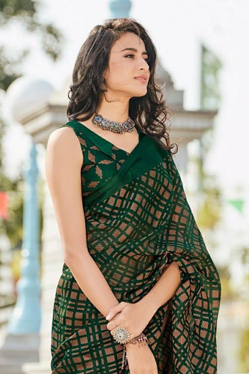 Dvanza women's Brasso silk saree online (Green, Printed, dvz0001091)