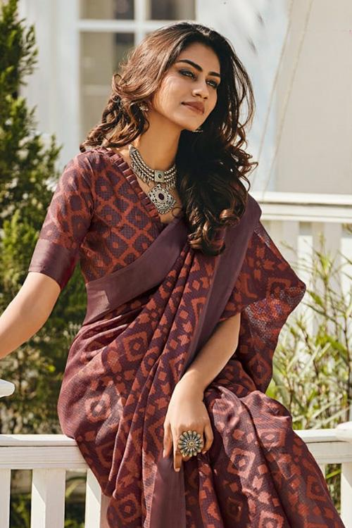 Dvanza women's Brasso silk saree online (Maroon, Printed, dvz0001097)