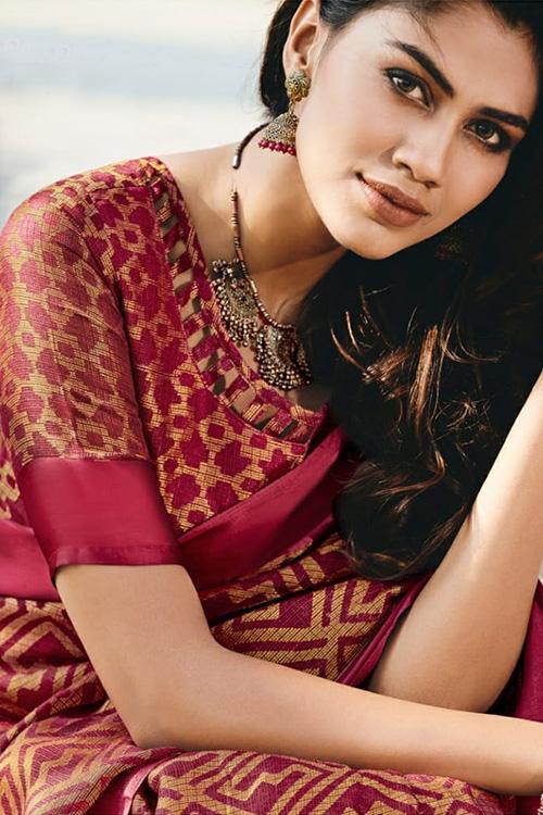 Dvanza women's Brasso silk saree online (Red, Printed, dvz0001093)