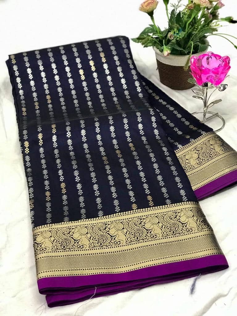 Exclusive Banarasi Silk Saree in Blue dvz0002620-2