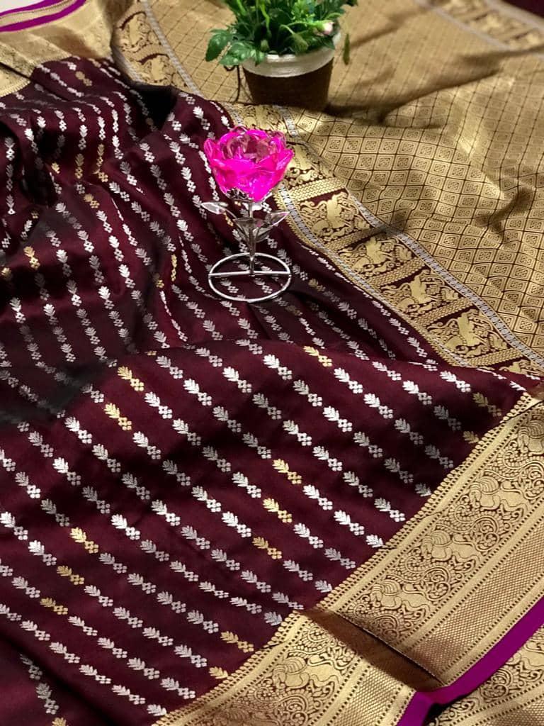 Exclusive Banarasi Silk Saree in Brown dvz0002621