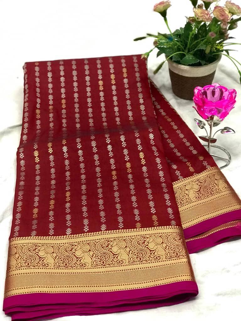 Exclusive Banarasi Silk Saree in Maroon dvz0002623-2