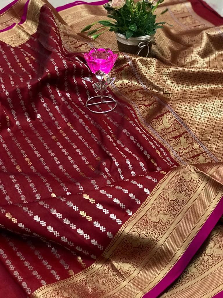 Exclusive Banarasi Silk Saree in Maroon dvz0002623